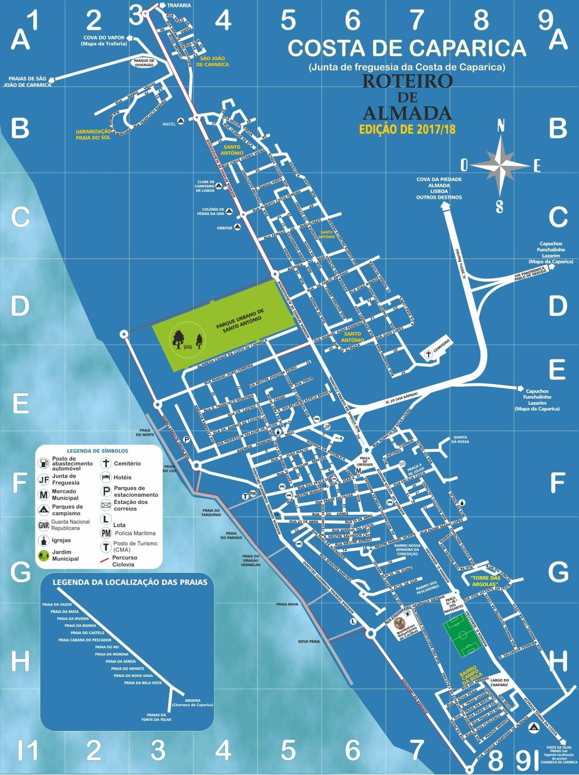 costa da caparica mapa Mapa da Costa de Caparica   Roteiro de Almada costa da caparica mapa